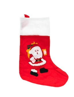 Père noël chaussette rouge isolé sur fond blanc