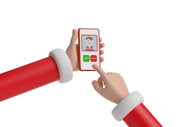 Le père noël choisit d'offrir du charbon à un enfant ou un cadeau sur une application pour téléphone portable. notion de noël. illustration 3d.
