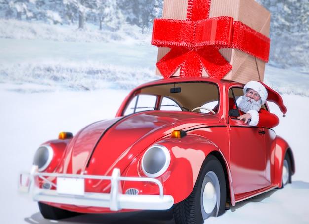 Père noël dans la voiture apportant des cadeaux