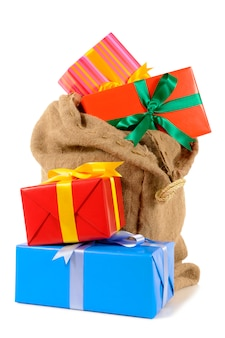 Père noël sac plein de cadeaux de noël