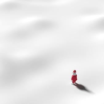 Père noël se dresse sur la neige. en hiver avec de la neige