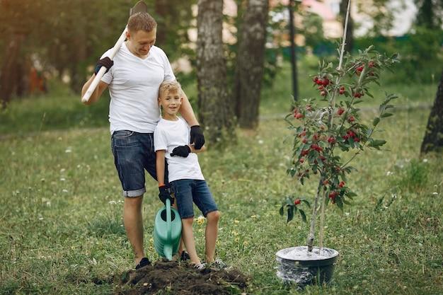 Père avec petit fils sont en train de planter un arbre sur une cour