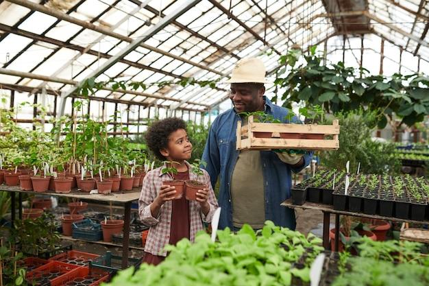 Père souriant africain plantant les plantes avec son fils en serre