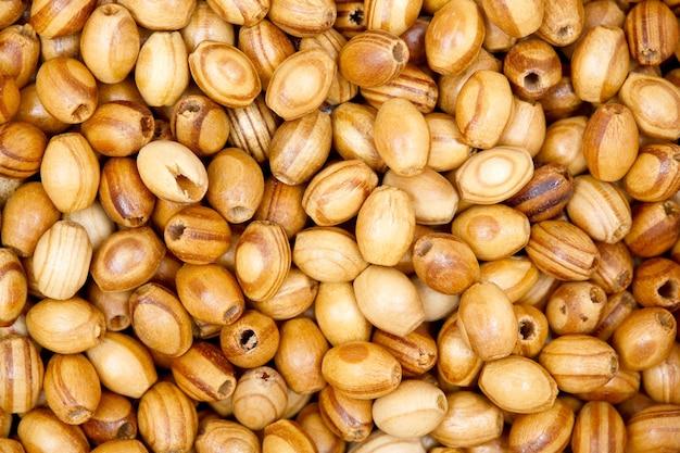 Perles en bois. texture. photo haute résolution photo macro