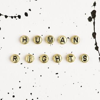 Perles de mot or sur les droits de l'homme