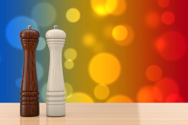 Perrer en bois ou moulins à sel sur une table en bois. rendu 3d