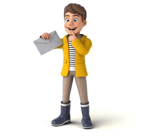 Personnage 3d amusant d'un enfant de dessin animé avec des vêtements de pluie