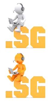 Personnage 3d assis sur un nom de domaine .sg.