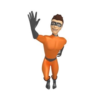Personnage 3d en costume de super-héros