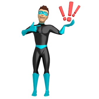 Personnage 3d dans un costume de super-héros, tenant des points d'exclamation sur sa main. illustration 3d