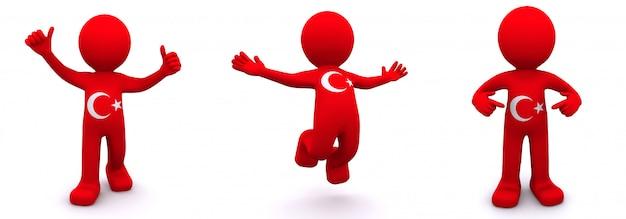 Personnage 3d texturé avec le drapeau de l'albanie