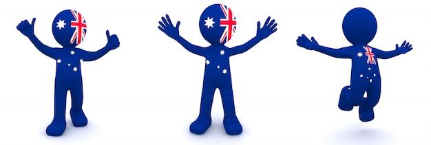 Personnage 3d texturé avec le drapeau de l'australie