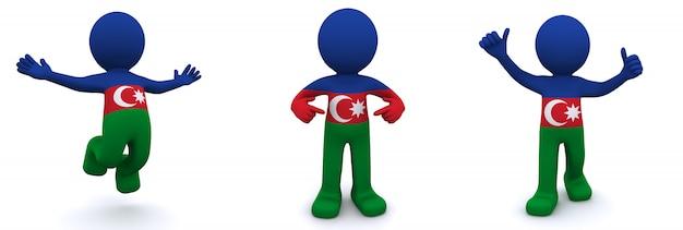Personnage 3d texturé avec le drapeau de l'azerbaïdjan
