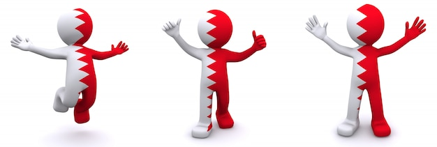 Personnage 3d texturé avec le drapeau de bahreïn