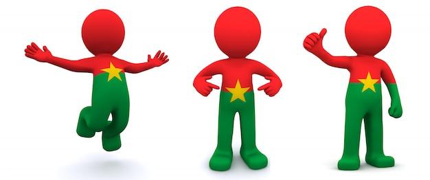 Personnage 3d texturé avec le drapeau du burkina faso