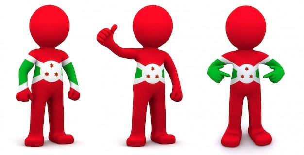 Personnage 3d texturé avec le drapeau du burundi