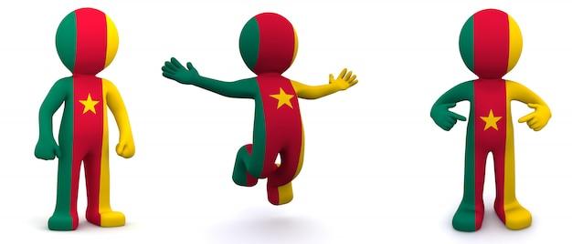 Personnage 3d texturé avec le drapeau du cameroun
