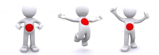 Personnage 3d texturé avec le drapeau du japon