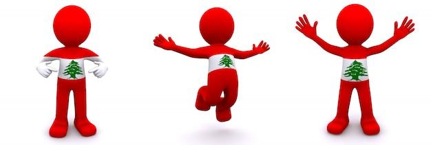 Personnage 3d texturé avec le drapeau du liban