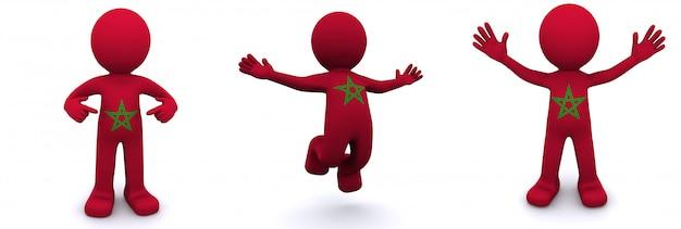 Personnage 3d texturé avec le drapeau du maroc