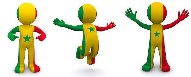 Personnage 3d texturé avec le drapeau du sénégal