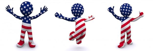 Personnage 3d texturé avec le drapeau des etats-unis