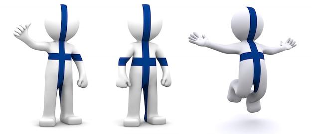 Personnage 3d texturé avec le drapeau de la finlande
