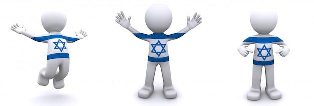 Personnage 3d texturé avec le drapeau d'israël