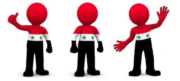 Personnage 3d texturé avec le drapeau de la syrie