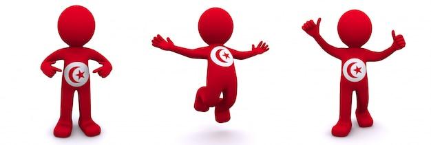 Personnage 3d texturé avec le drapeau de tunis