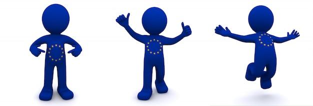 Personnage 3d texturé avec le drapeau de l'union européenne