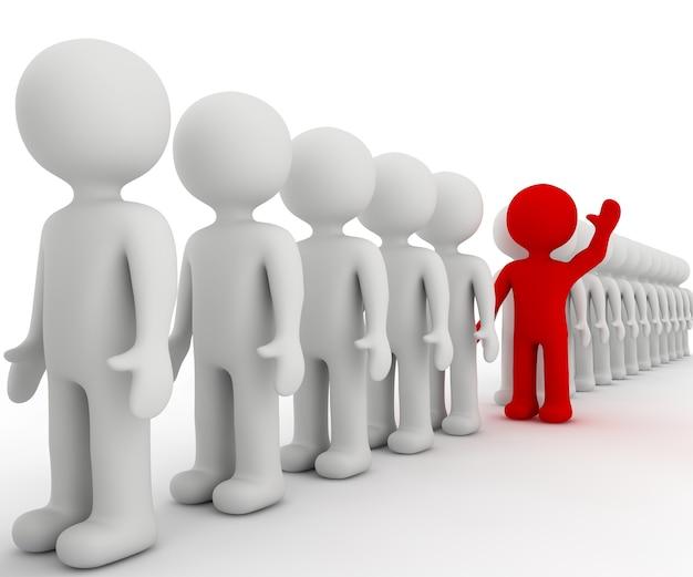 Personnage blanc 3d et bénévole