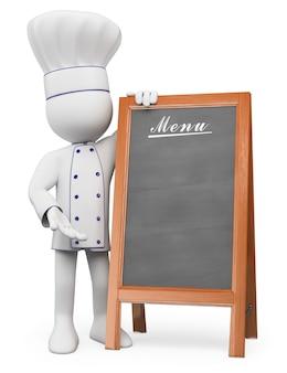 Personnage blanc 3d. chef avec un menu vierge