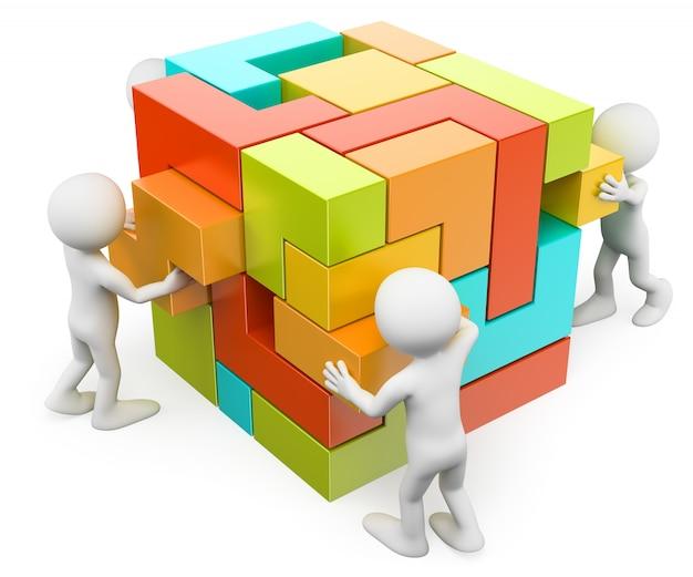 Personnage blanc 3d. construire et créer un concept