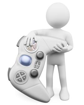 Personnage blanc 3d. enfant avec une manette de jeu