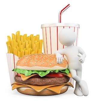 Personnage blanc 3d. fast food. boisson frites hamburger