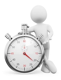 Personnage blanc 3d. homme avec un chronomètre