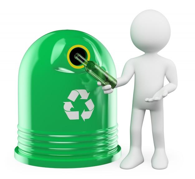 Personnage blanc 3d. récipient en verre de recyclage