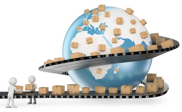 Personnage blanc 3d. service de livraison international