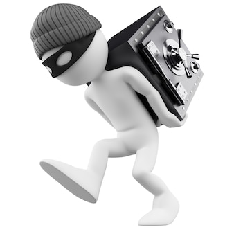 Personnage blanc 3d. voleur de banque