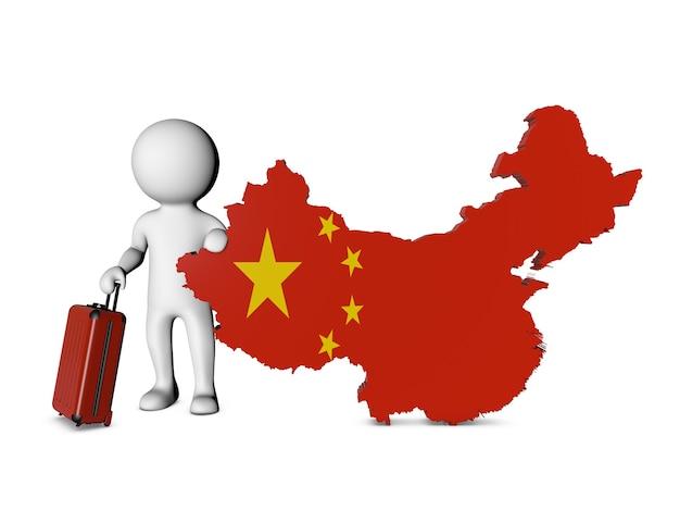 Personnage blanc avec valise visite la chine