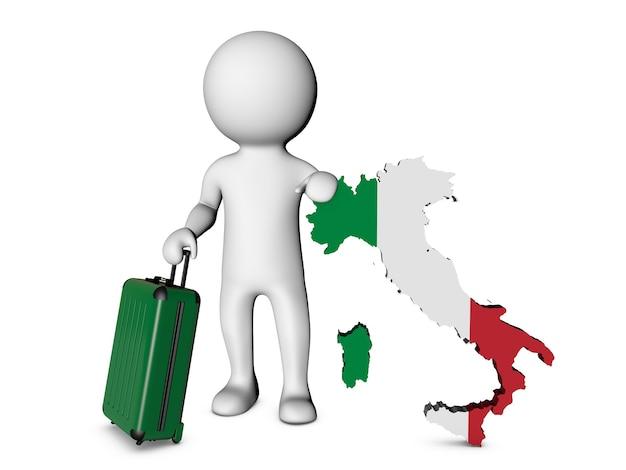Personnage blanc avec valise visite l'italie