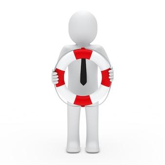 Personnage Avec Cravate Tenant Un Flotteur Photo gratuit