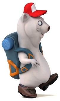 Personnage de dessin animé amusant 3d ours backpacker