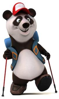Personnage de dessin animé amusant 3d panda backpacker
