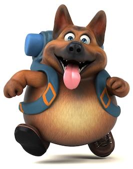 Personnage de dessin animé amusant de chien de berger allemand routard