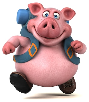 Personnage de dessin animé amusant de porc routard