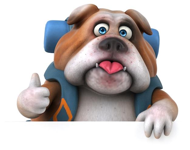 Personnage de dessin animé de bulldog routard amusant
