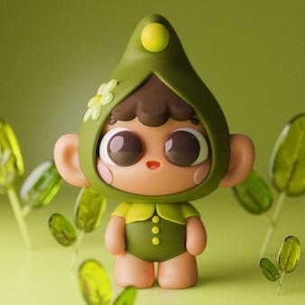 Personnage de dessin animé coloré mignon kawaii 3d