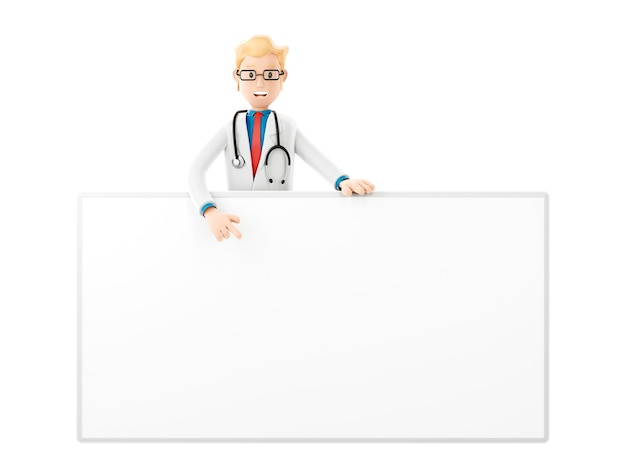 Personnage de dessin animé de docteur souriant avec grande bannière, illustration 3d médicale